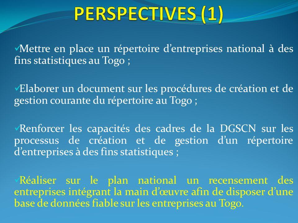 PERSPECTIVES (1) Mettre en place un répertoire d'entreprises national à des fins statistiques au Togo ;