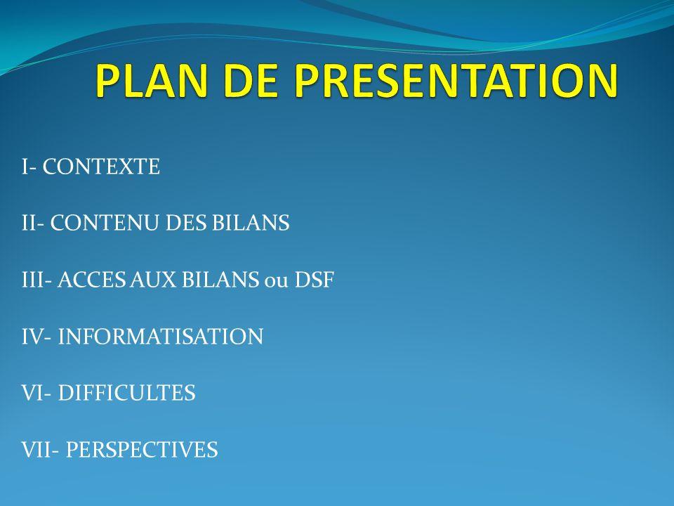 PLAN DE PRESENTATION I- CONTEXTE II- CONTENU DES BILANS