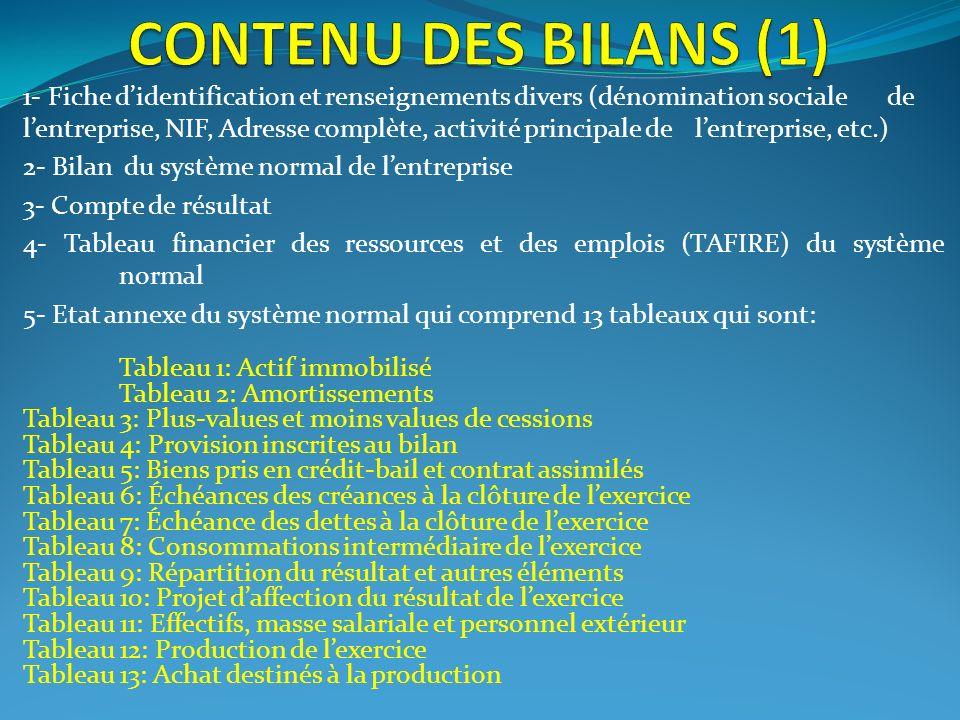CONTENU DES BILANS (1)