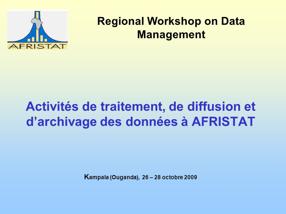 Regional Workshop on Data Management