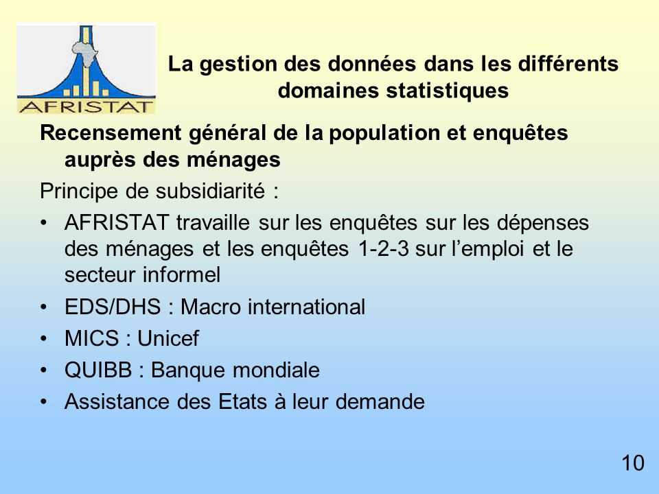 La gestion des données dans les différents domaines statistiques