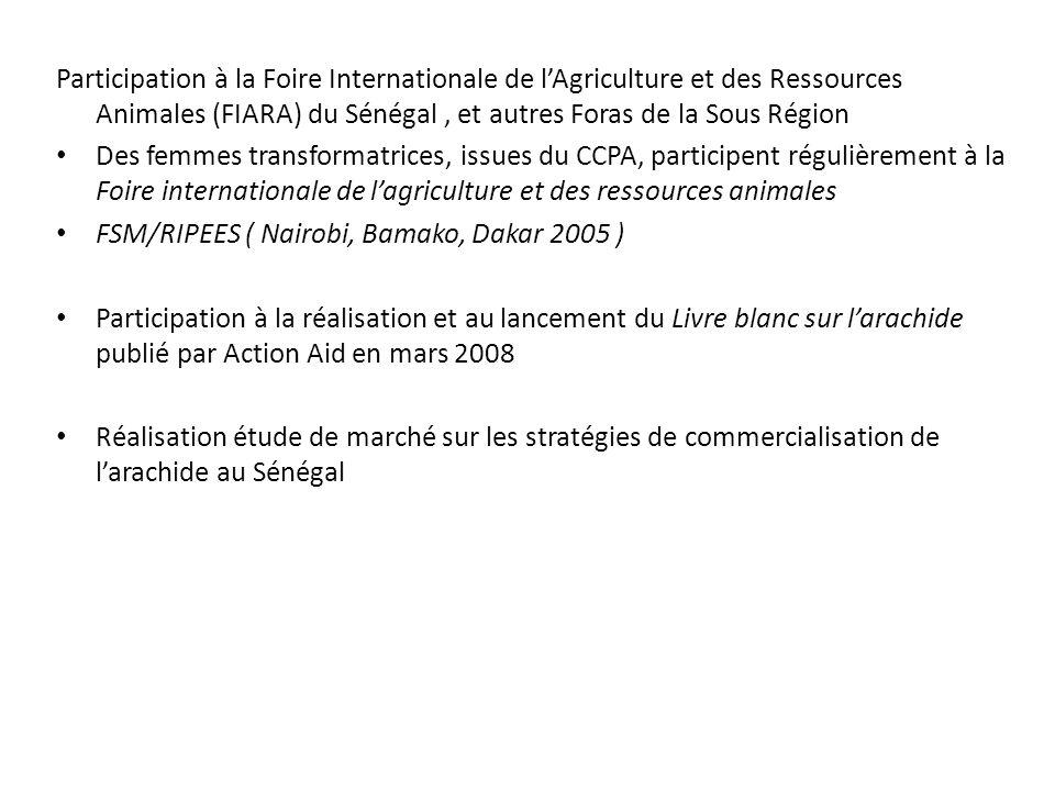 Participation à la Foire Internationale de l'Agriculture et des Ressources Animales (FIARA) du Sénégal , et autres Foras de la Sous Région