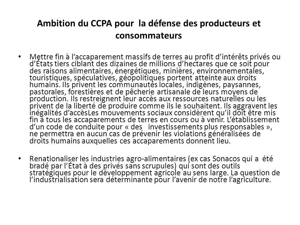 Ambition du CCPA pour la défense des producteurs et consommateurs