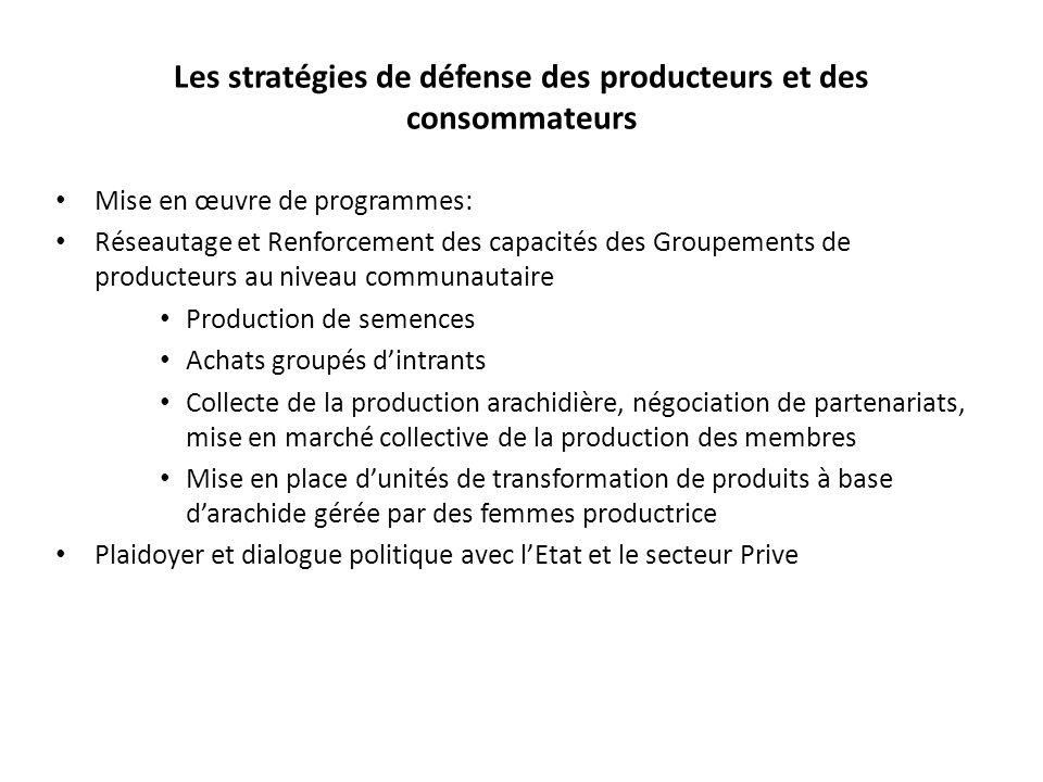 Les stratégies de défense des producteurs et des consommateurs