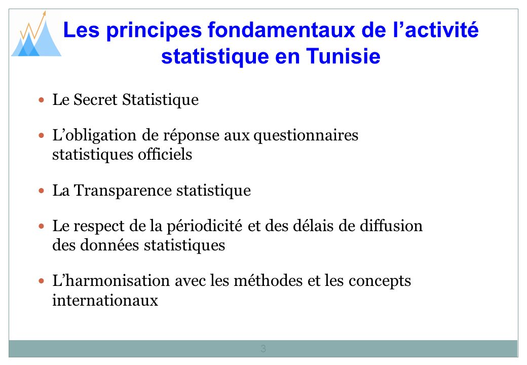 Les principes fondamentaux de l'activité statistique en Tunisie