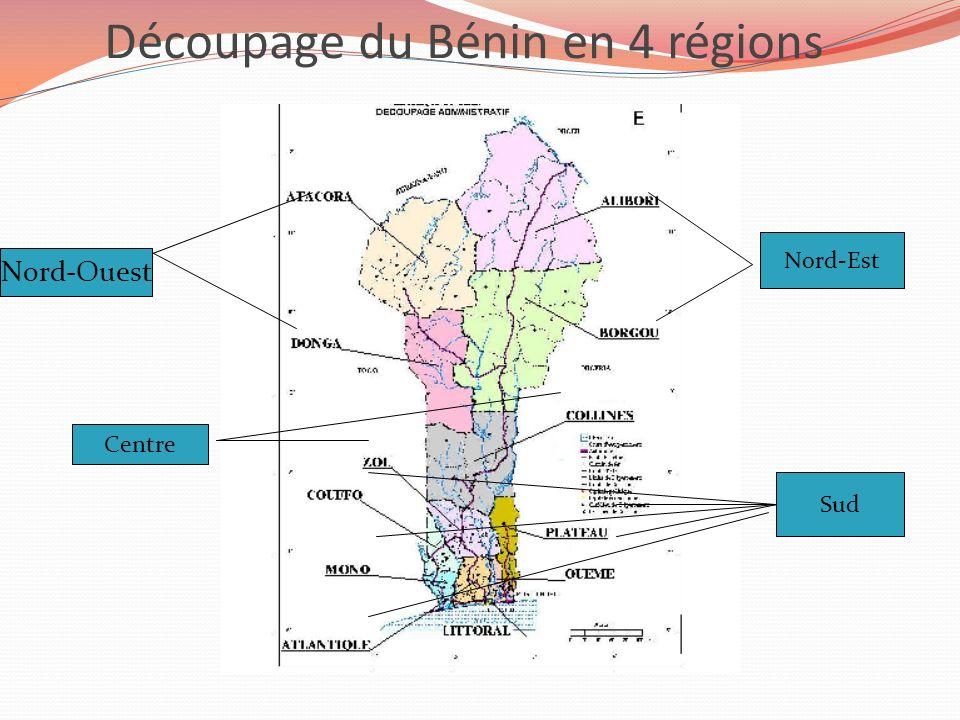 Découpage du Bénin en 4 régions