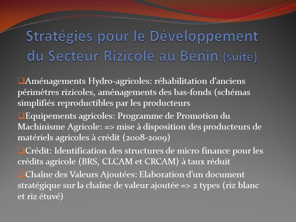 Stratégies pour le Développement du Secteur Rizicole au Bénin (suite)