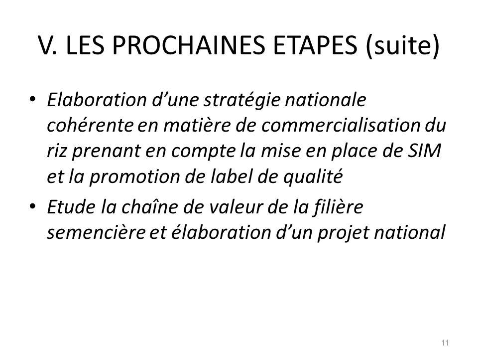 V. LES PROCHAINES ETAPES (suite)