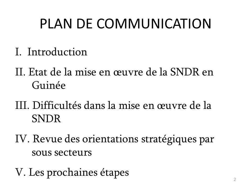 PLAN DE COMMUNICATION I. Introduction