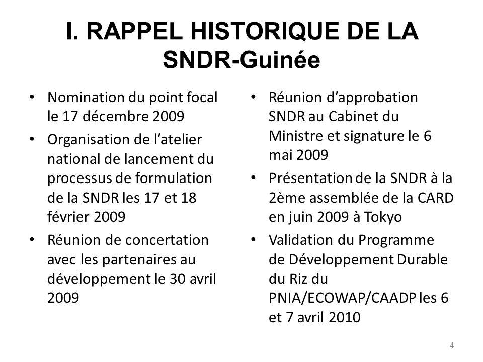 I. RAPPEL HISTORIQUE DE LA SNDR-Guinée