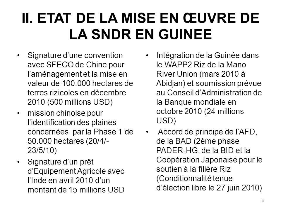 II. ETAT DE LA MISE EN ŒUVRE DE LA SNDR EN GUINEE