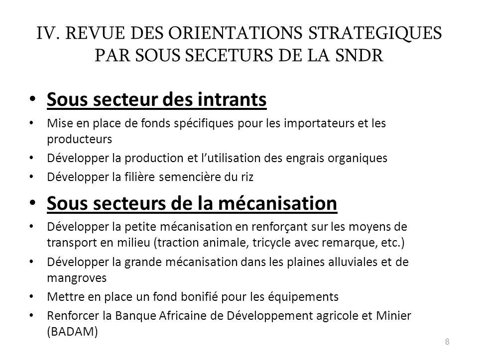 IV. REVUE DES ORIENTATIONS STRATEGIQUES PAR SOUS SECETURS DE LA SNDR
