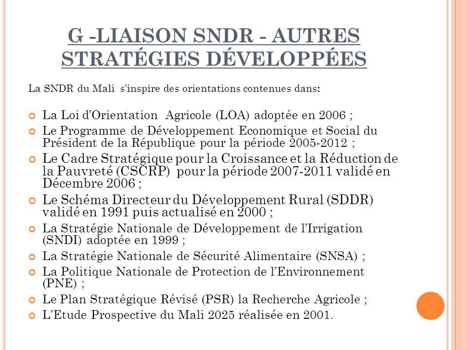 G -Liaison SNDR - autres stratégies développées