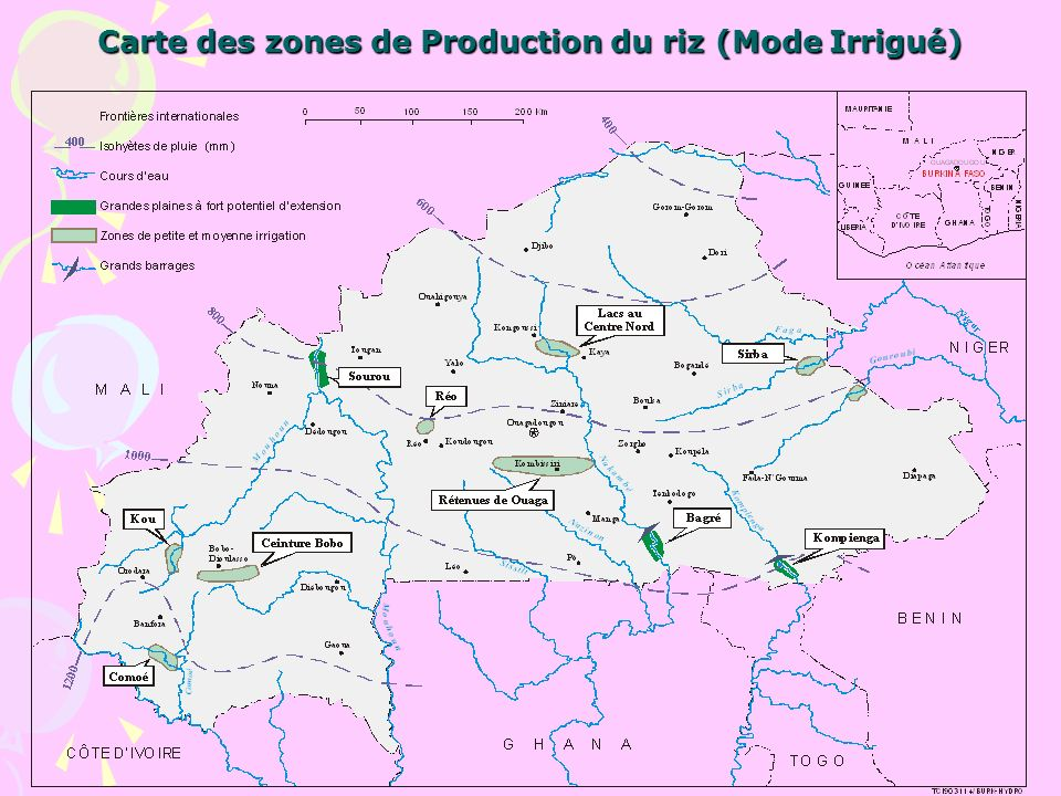 Carte des zones de Production du riz (Mode Irrigué)