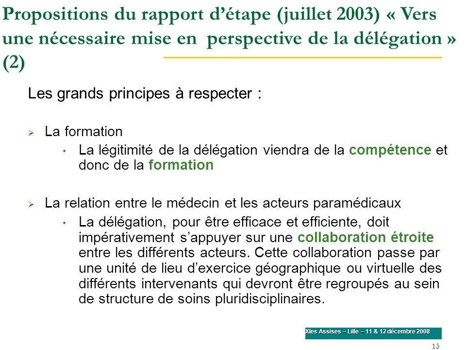 Propositions du rapport d'étape (juillet 2003) « Vers une nécessaire mise en perspective de la délégation » (2)