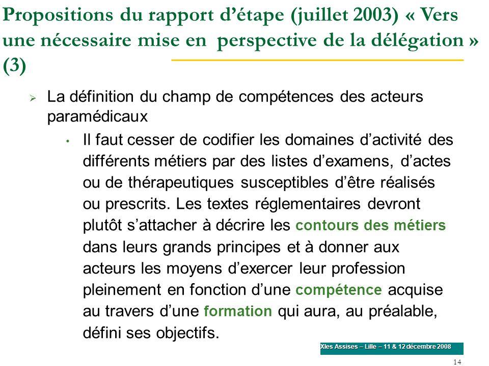 Propositions du rapport d'étape (juillet 2003) « Vers une nécessaire mise en perspective de la délégation » (3)