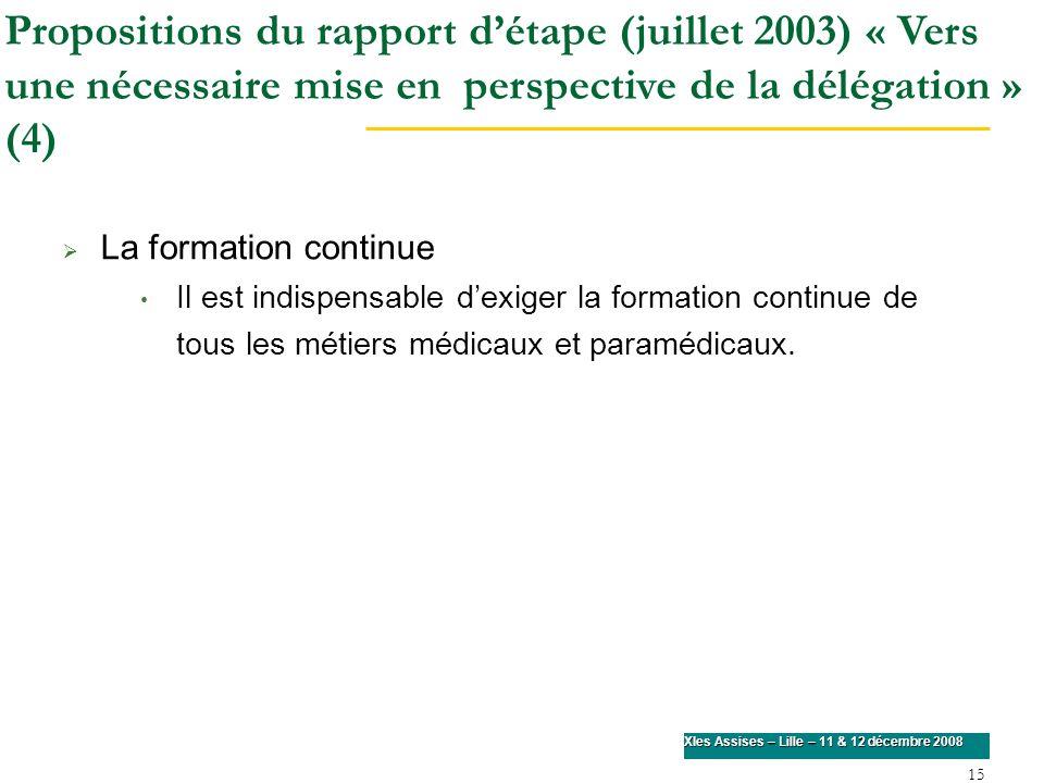 Propositions du rapport d'étape (juillet 2003) « Vers une nécessaire mise en perspective de la délégation » (4)