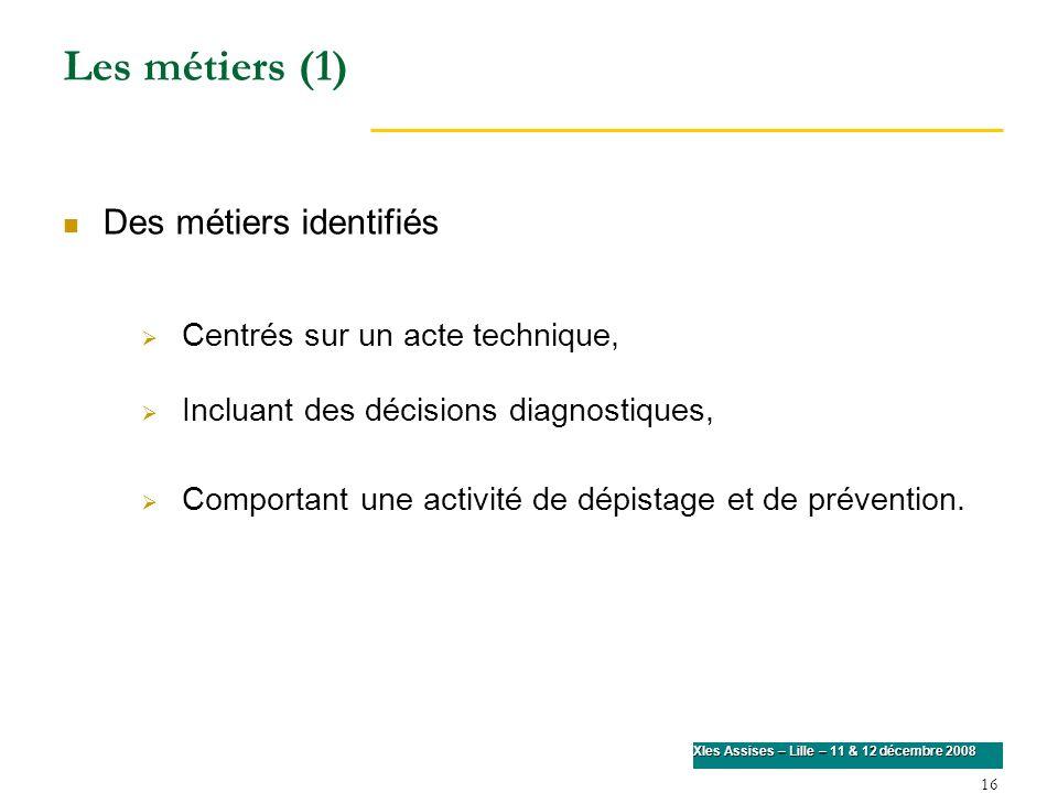Les métiers (1) Des métiers identifiés Centrés sur un acte technique,