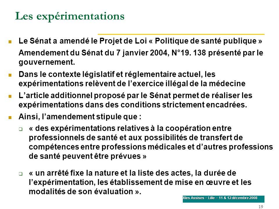 Les expérimentations Le Sénat a amendé le Projet de Loi « Politique de santé publique »