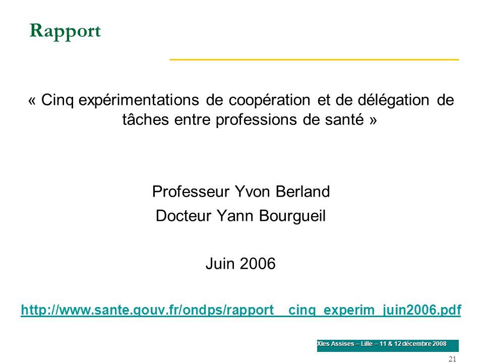 Rapport « Cinq expérimentations de coopération et de délégation de tâches entre professions de santé »