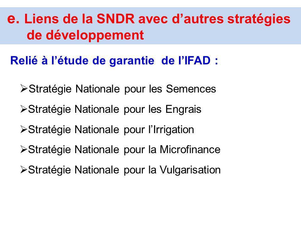 e. Liens de la SNDR avec d'autres stratégies de développement