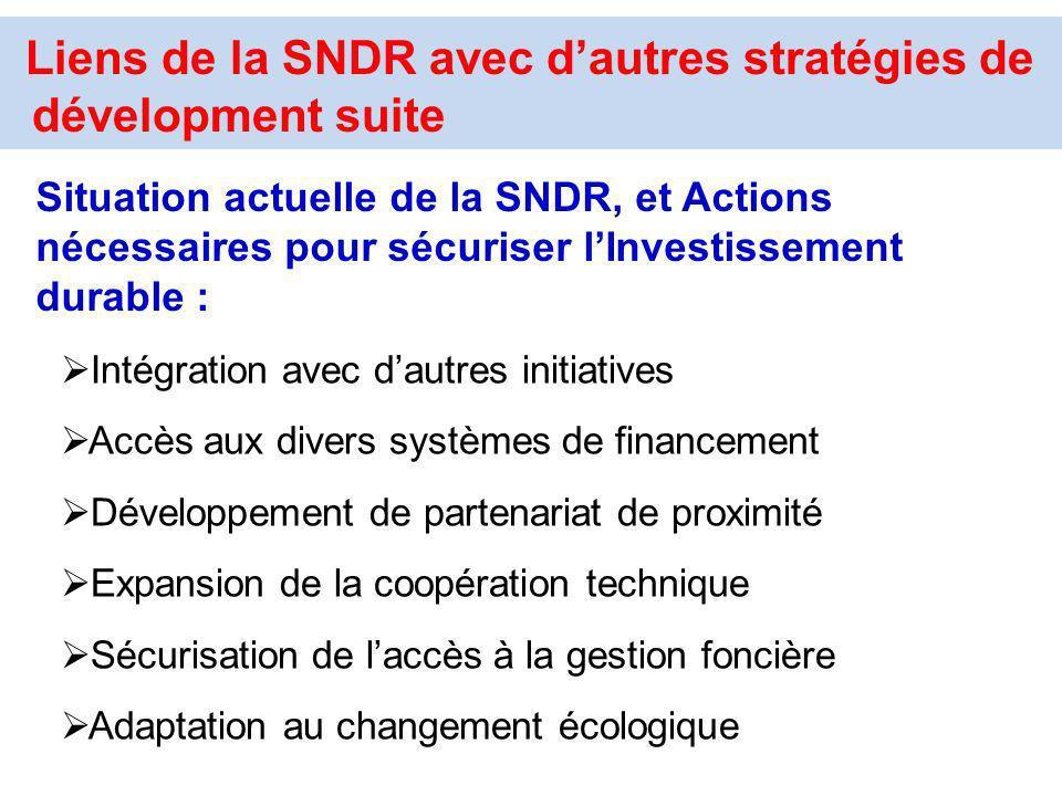 Liens de la SNDR avec d'autres stratégies de dévelopment suite