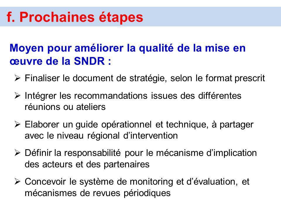f. Prochaines étapes Moyen pour améliorer la qualité de la mise en œuvre de la SNDR : Finaliser le document de stratégie, selon le format prescrit.