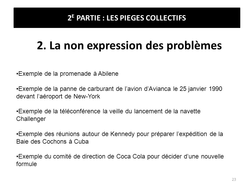 2. La non expression des problèmes