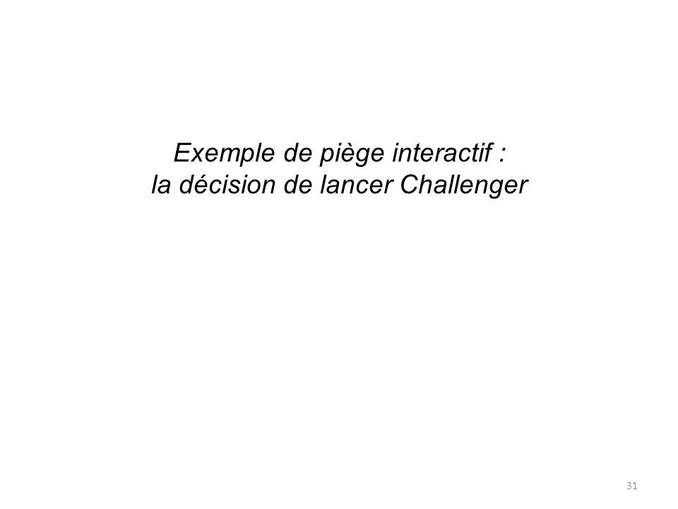 Exemple de piège interactif : la décision de lancer Challenger