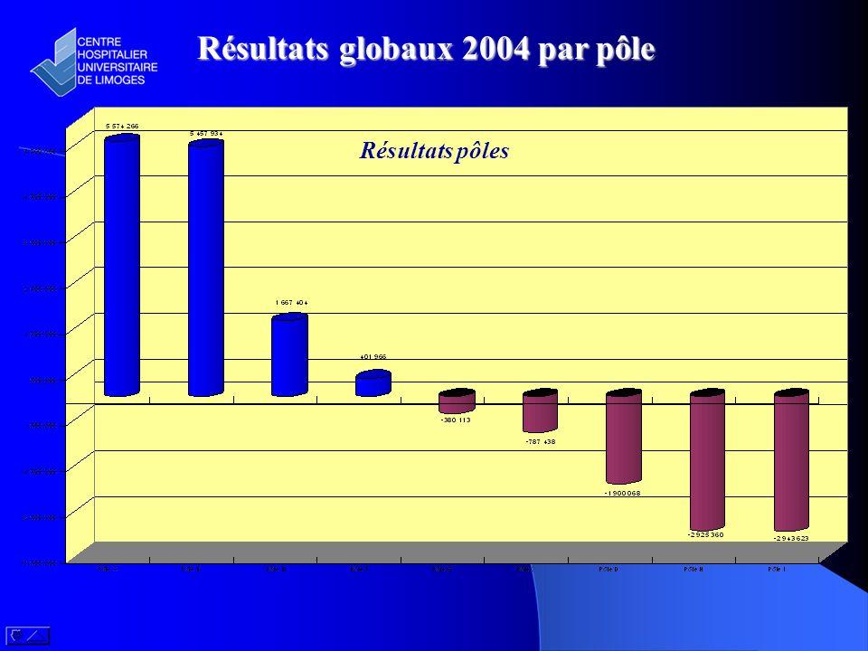 Résultats globaux 2004 par pôle