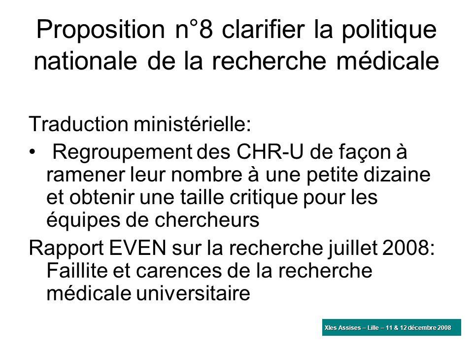 Proposition n°8 clarifier la politique nationale de la recherche médicale