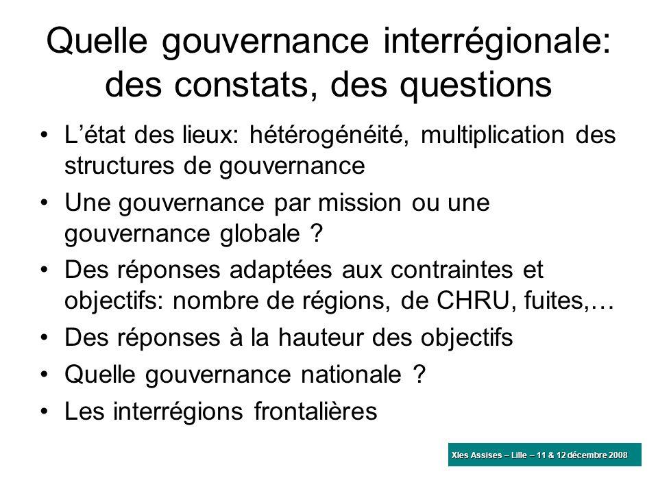 Quelle gouvernance interrégionale: des constats, des questions