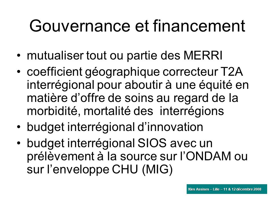Gouvernance et financement