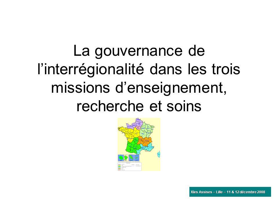 La gouvernance de l'interrégionalité dans les trois missions d'enseignement, recherche et soins
