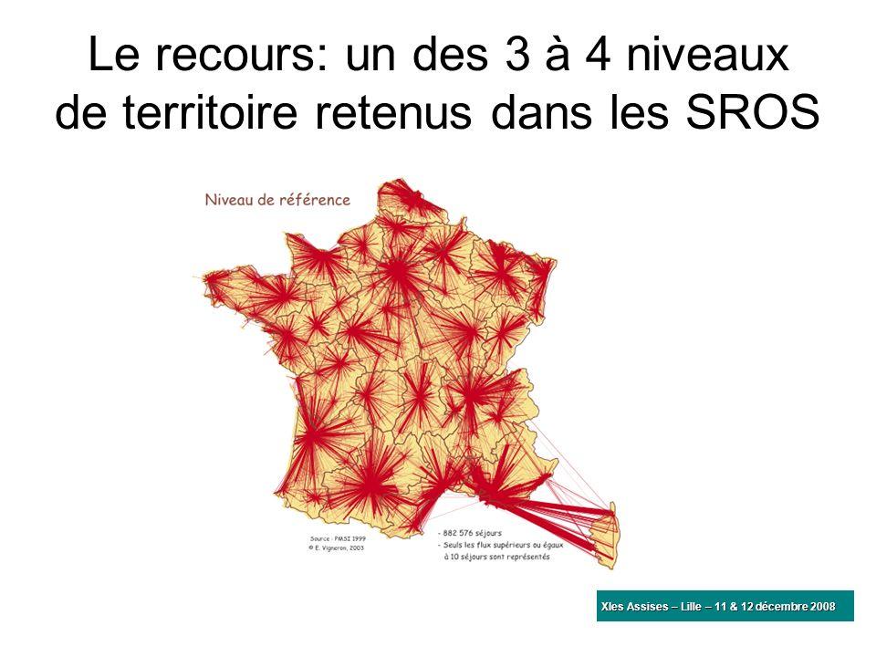 Le recours: un des 3 à 4 niveaux de territoire retenus dans les SROS