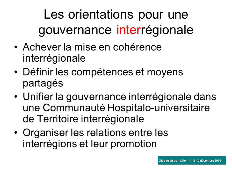 Les orientations pour une gouvernance interrégionale