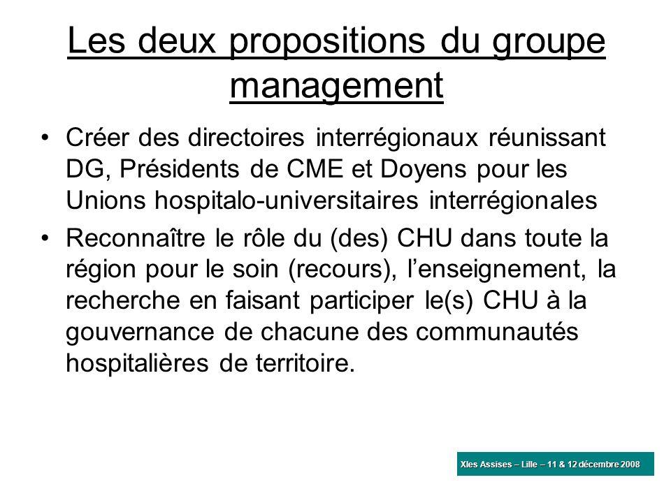 Les deux propositions du groupe management