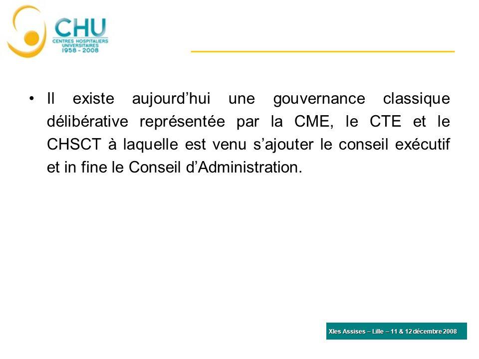 Il existe aujourd'hui une gouvernance classique délibérative représentée par la CME, le CTE et le CHSCT à laquelle est venu s'ajouter le conseil exécutif et in fine le Conseil d'Administration.
