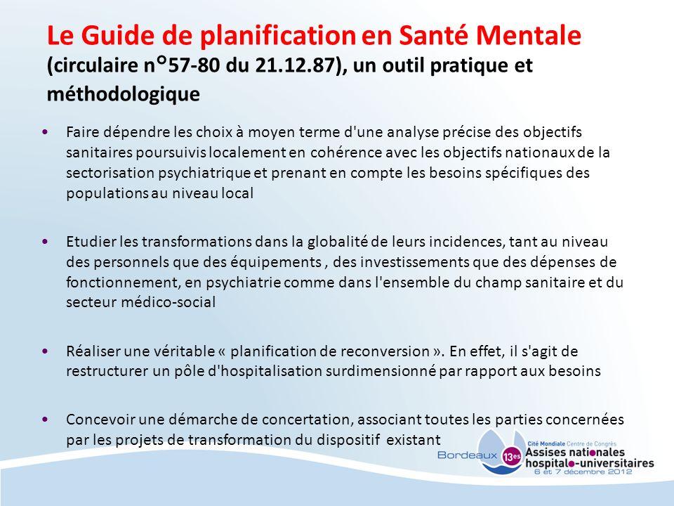 Le Guide de planification en Santé Mentale (circulaire n°57-80 du 21