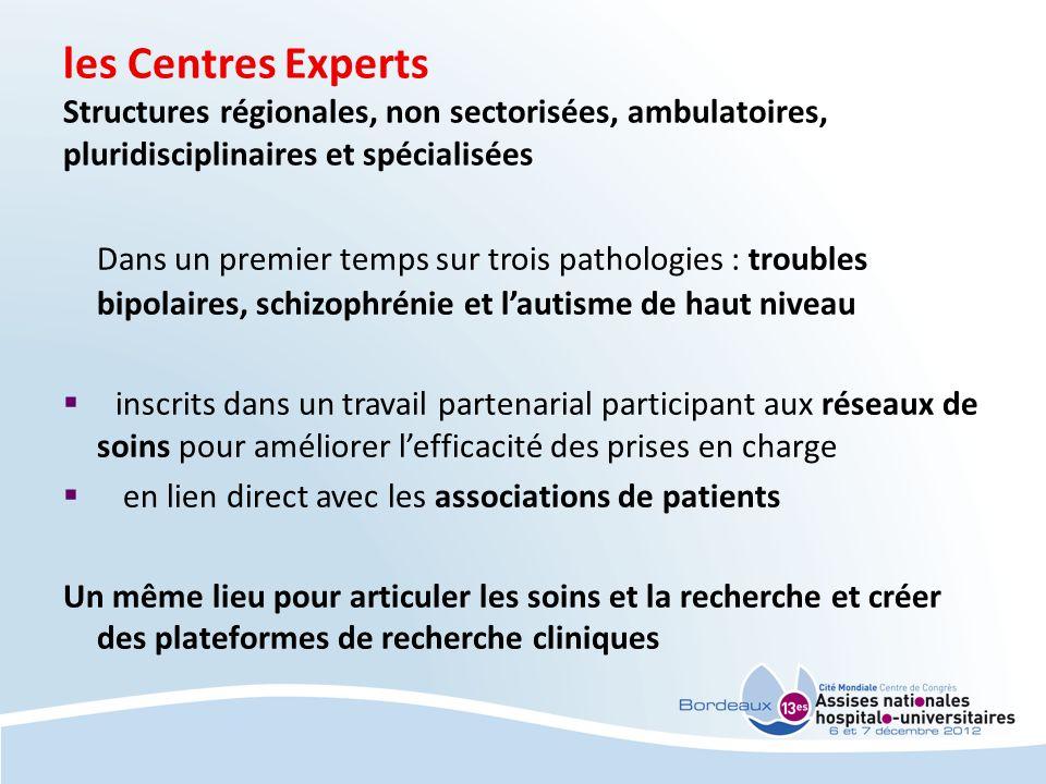 les Centres Experts Structures régionales, non sectorisées, ambulatoires, pluridisciplinaires et spécialisées