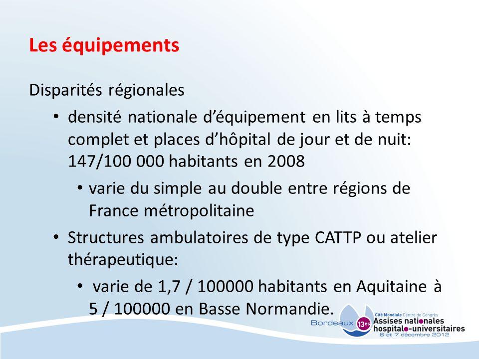 Les équipements Disparités régionales