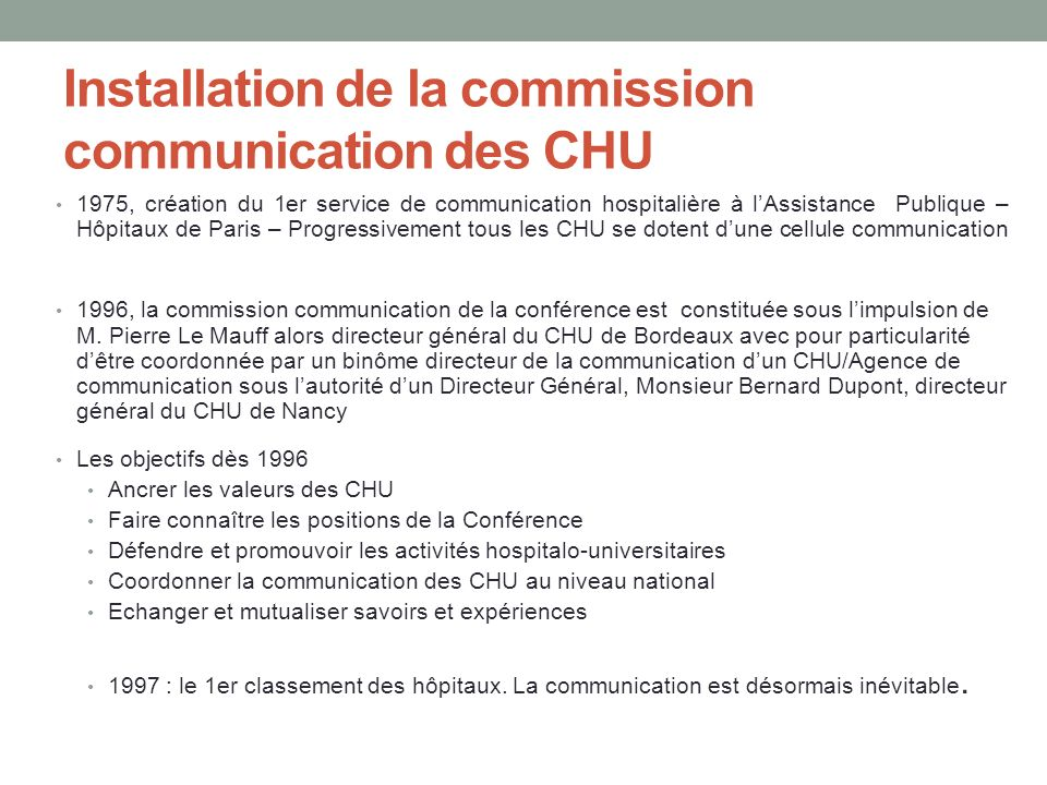 Installation de la commission communication des CHU