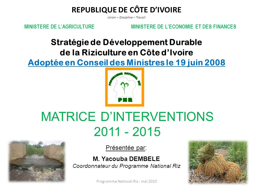 MATRICE D'INTERVENTIONS 2011 - 2015