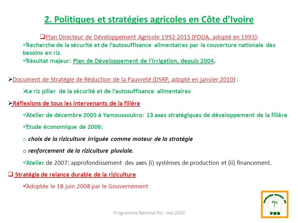 2. Politiques et stratégies agricoles en Côte d'Ivoire