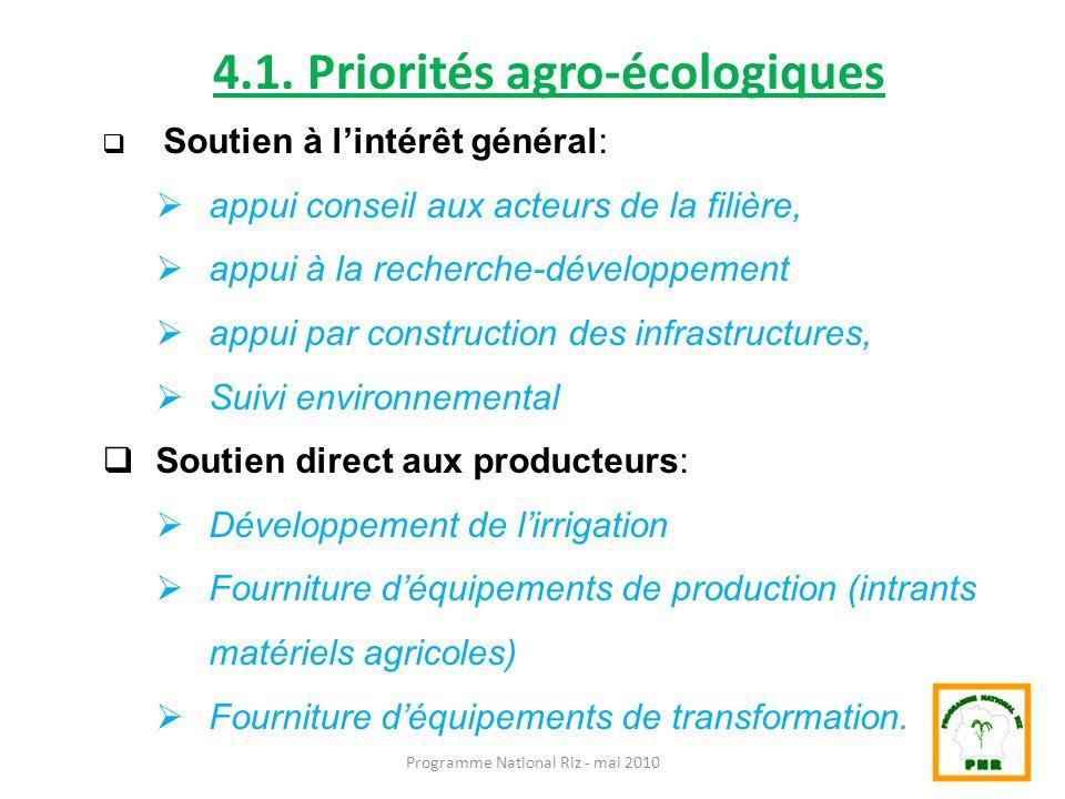 4.1. Priorités agro-écologiques
