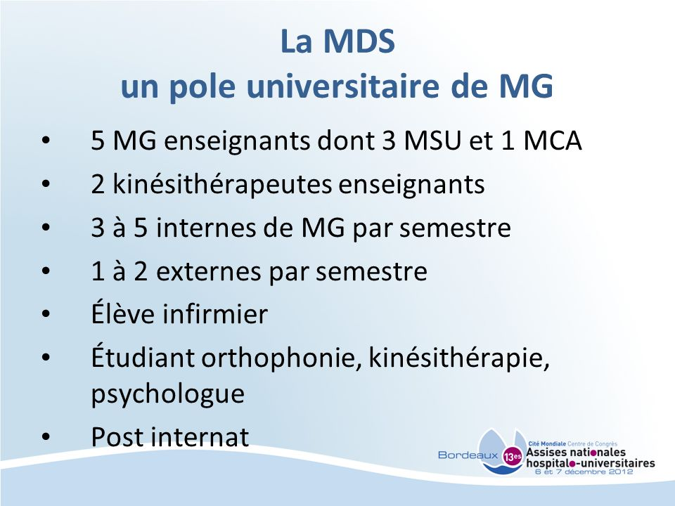 La MDS un pole universitaire de MG