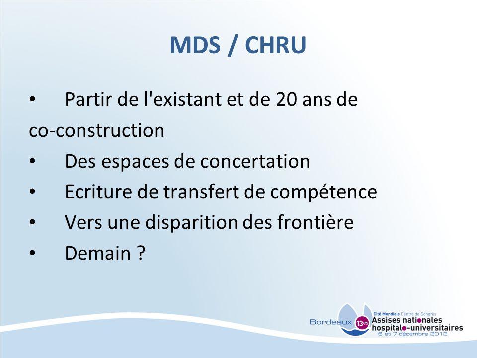 MDS / CHRU Partir de l existant et de 20 ans de co-construction