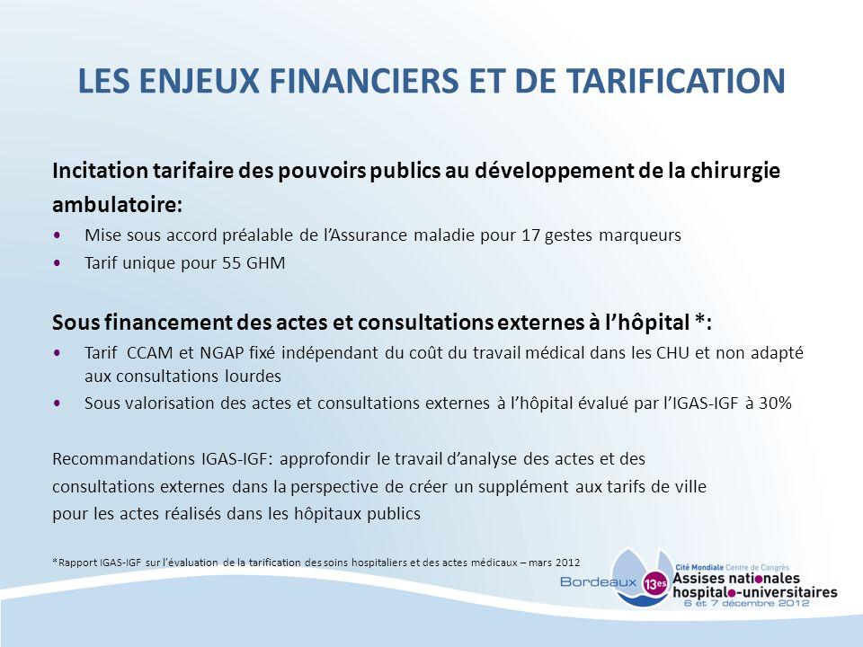 LES ENJEUX FINANCIERS ET DE TARIFICATION
