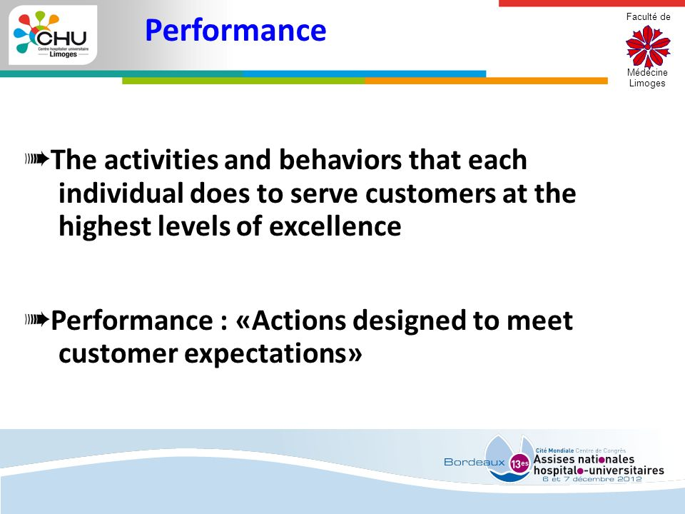Performance The activities and behaviors that each