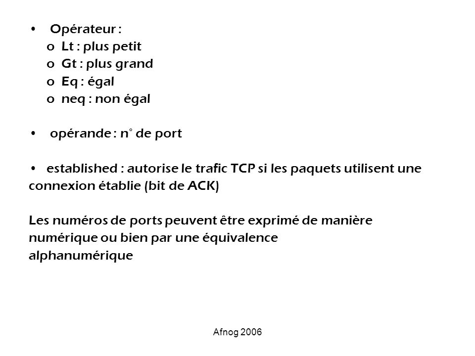established : autorise le trafic TCP si les paquets utilisent une